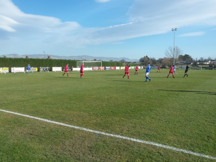 Ball just goes out as another Caersws chance breaks down