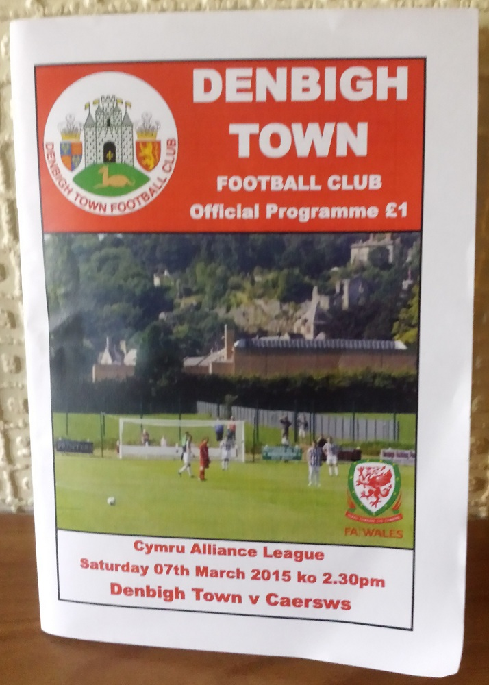 The programme for the Denbigh match.