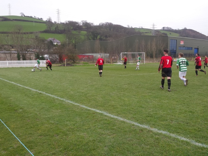 Mochdre on the attack searching for an equaliser before half time