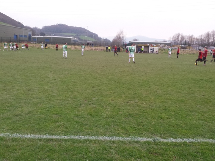 Gaerwen with a long free kick into the box