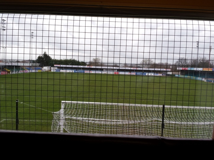 The view of the pitch from the clubhouse