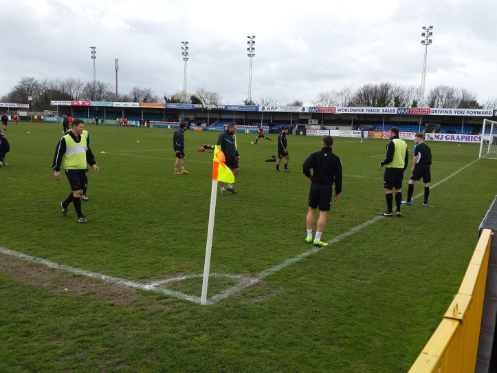 Watching Rhyl's warm up whilst warming myself up with a cuppa!