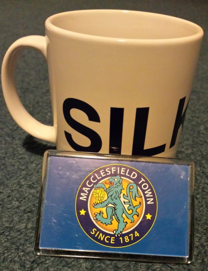The Macclesfield Town mug & fridge magnet bought