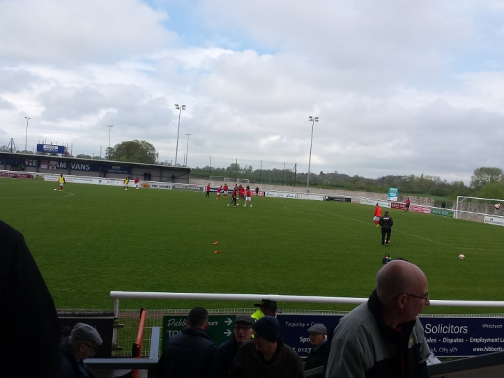 The initial viewing position from the main stand watching Ilkeston warm up