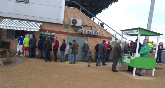 Queuing up for food, no doubt to warm yourself up especially when you're in shorts on a cold April afternoon!