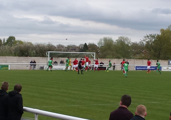 Another Nantwich corner dealt with by the Ilkeston defence