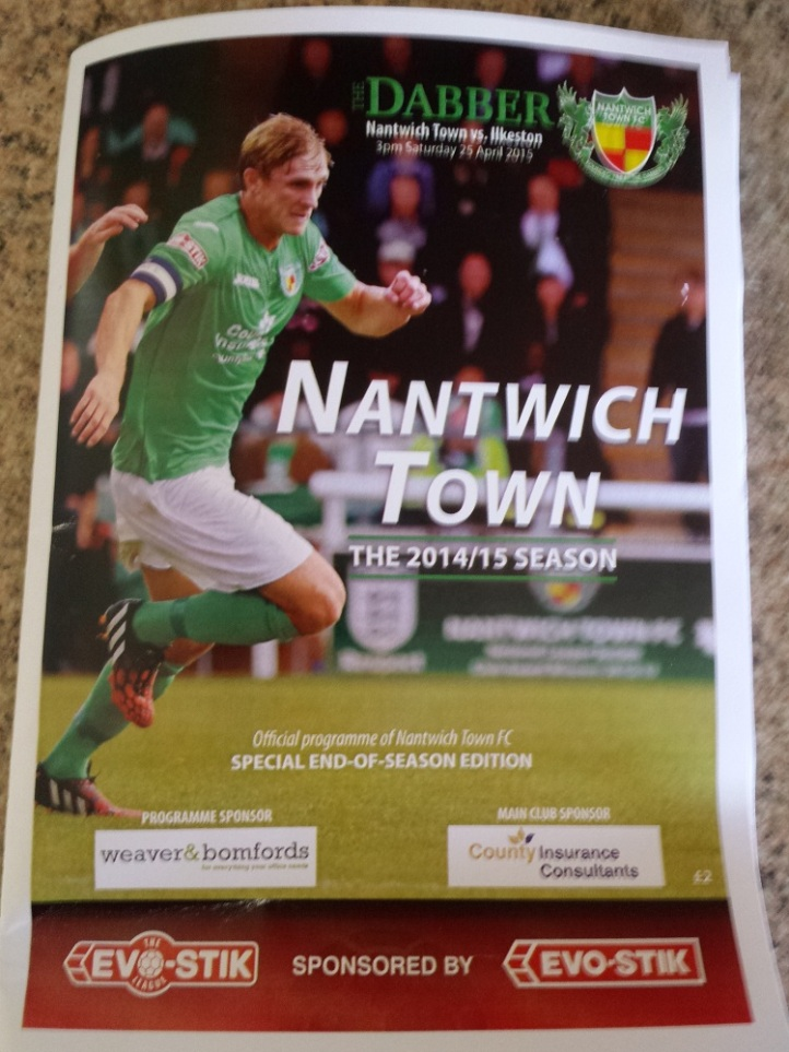 The programme from today's game