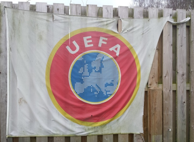 The UEFA flag proudly on display at The Rock