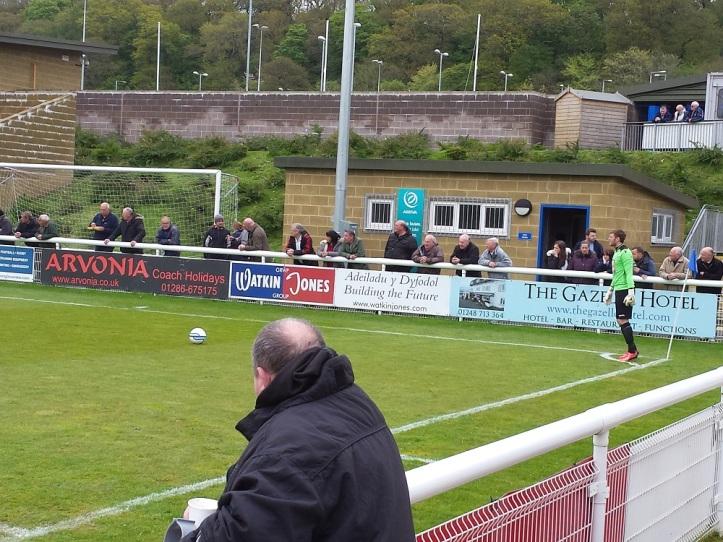 Free kick taken by Holywell keeper Platt