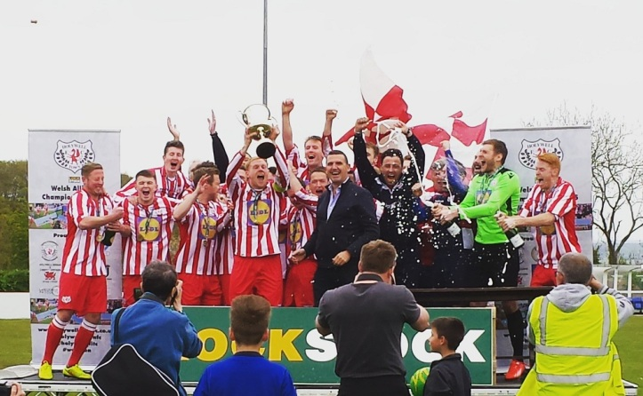 Holywell lifting the Welsh Alliance trophy on the May Day Bank Holiday