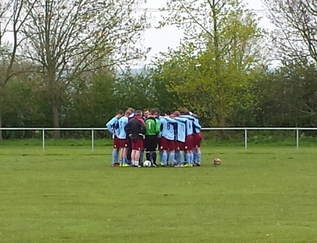 Llangollen in a pre-match huddle...