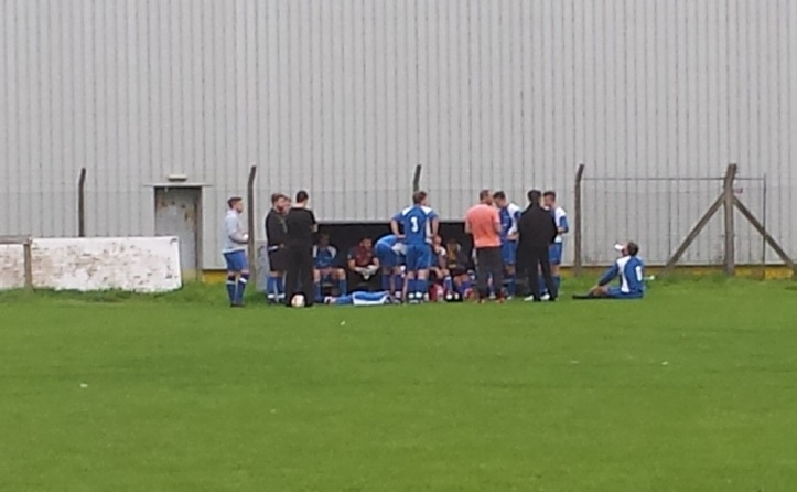 Mochdre receiving their team talk