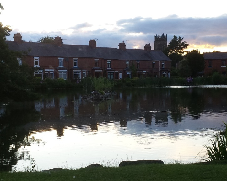 The picturesque pond by the ground