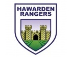 The badge of Hawarden Rangers displaying the gates of Hawarden Castle