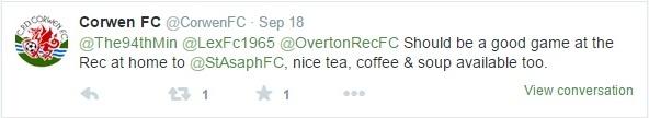 The tweet from Corwen