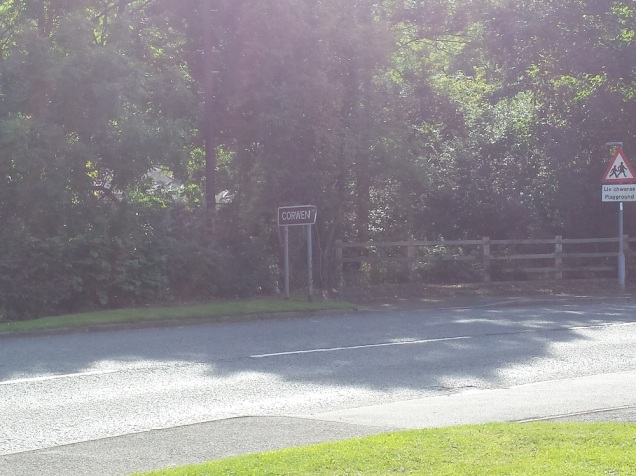 The entrance by the Corwen place sign