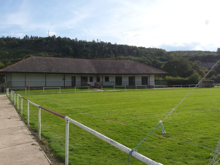 The clubhouse from the pitch