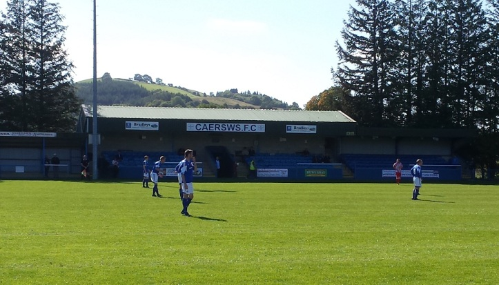 The main stand with the landscape behind