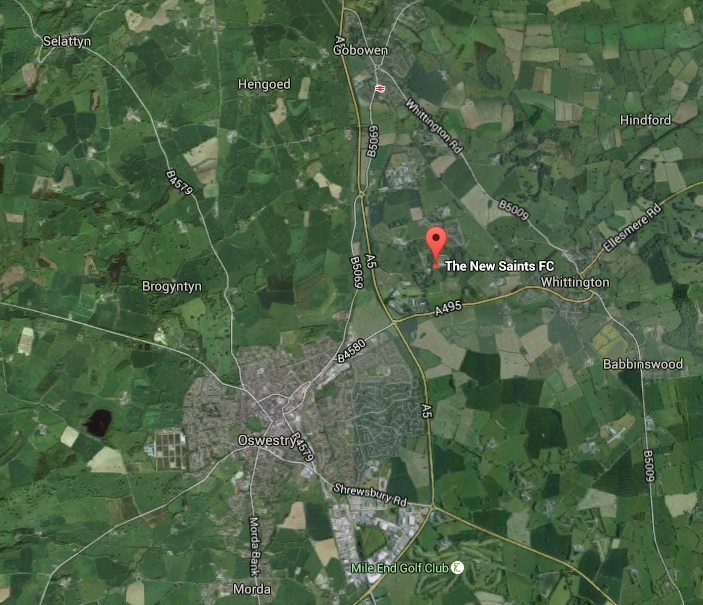 Location of Park Hall stadium in comparison with Oswestry