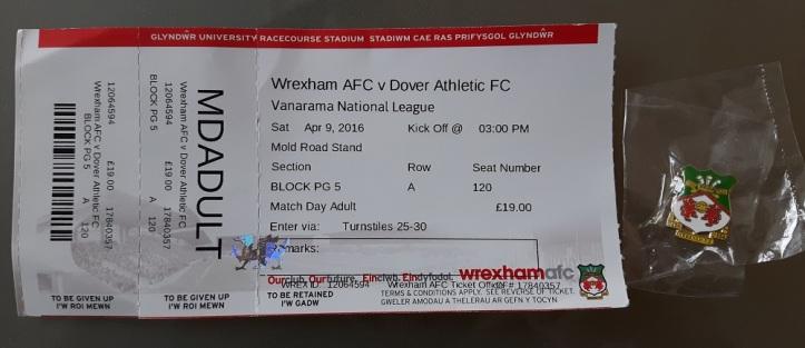 Wrexham vs Dover Ath Match Ticket & Badge