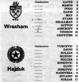 Wrexham vs Hajduk 1972