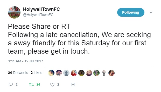 Holywell Town Match Request Tweet - 12th July 17