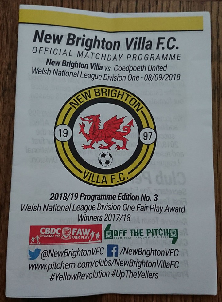 New Brighton Villa Programme - 8th Sept 2018 (1)
