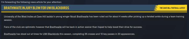 S1P3 - Injury for Braithwaite